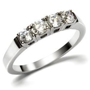 Stainless Steel Engagement, Wedding Band W/ Round Clear CZ , Sz 5,6,7,8 ,9