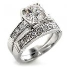 Brilliant Wedding Ring Set With Clear Round Cut CZ, Size 6