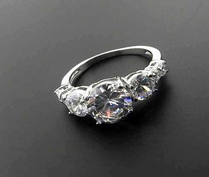2 Ct Stainless Steel Round Clear CZ Engagement, Wedding Ring , Size  6,7,8,9