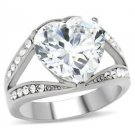 6 Ct Clear Heart CZ Stainless Steel Engagement, Wedding Ring, Sz 5,6,7,8, 10