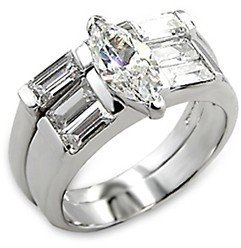 1 Carat Clear Marquise Cut CZ Engagement Wedding Ring Set, Size 5,6,7,8,9