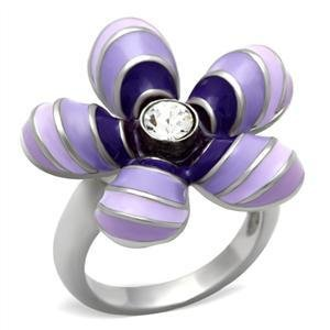 Stainless Steel Violet Daisy Enamel Cocktail Ring, Size 5,6,7,8,9