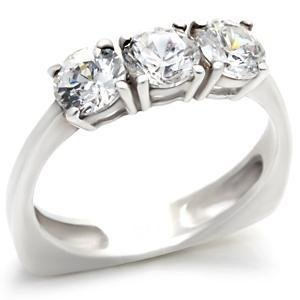 Sterling Silver Engagement Wedding Band  W/ Clear Round  CZ,  Size 8,  9 ,10