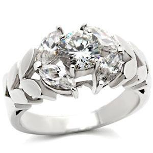 Sterling Silver Engagement Wedding Ring  W/ Clear  Round CZ,  Sz 5,6,7,8,9,10