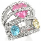 Multi Row  Cocktail  Ring With Rose, Topaz & Aquamarine  CZ, Size  5,6,7,8
