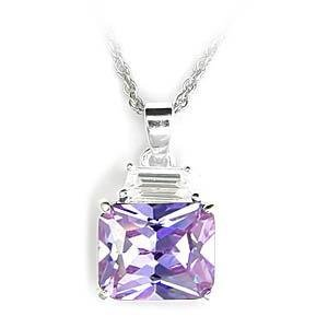 5 Carat Sterling Silver Light Amethyst  Emerald CZ Pendent, (Chain Not Included)