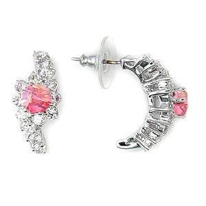 Silvertone Earring Stud With Rose Pinc Cubic Zirconia