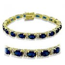 "7"" Bracelet W/ Montana Sapphire Oval Cut CZ, September Birthstone, Gold Plating"