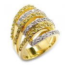 Multi Row Two Tone Cocktail  Ring With Topaz & Clear CZ, Size 6, 7,8,9