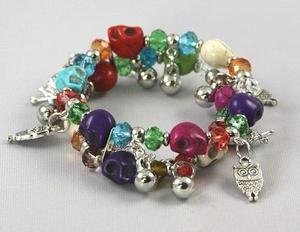 DOUBLE LAYER STRETCHABLE BRACELET WITH MULTI COLOR SKULL & CRYSTAL BEADS
