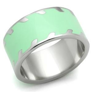 Stainless Steel Apple Green Enamel Cocktail Ring, Size 5,6,7,8,9,10