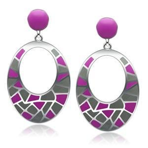 Stainless Steel Multi Color Earrings Dangle, High Polished, No Coating