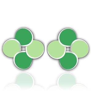 Stainless Steel Green Earrings Stud, High Polished, No Coating