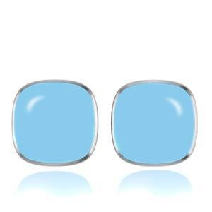 Stainless Steel Blue Epoxy Earrings Stud, High Polished, No Coating