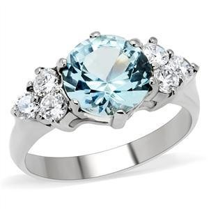 2.5 Carat  London Blue Round CZ Stainless Steel Wedding Ring, Size 5,6,7,8,9,10