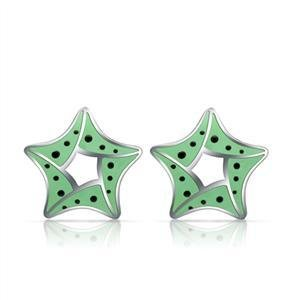 Stainless Steel Green Star Epoxy Earrings Stud, High Polished, No Coating