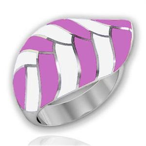 Stainless Steel Pink Enamel Striped Leaf Cocktail Ring, Size 5,6,7,8,9,10