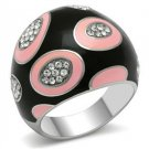 Stainless Steel Pink & White Cocktail Ring,  High Polished, Size 5,6 ,7,8,9,10