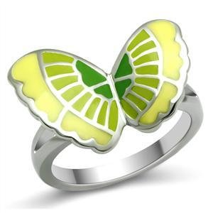 Stainless Steel Yellow & Green Epoxy Butterfly  Cocktail Ring, Size 5,6,7,8,9,10