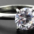 2 Ct Classic Clear Round CZ Stainless Steel Wedding Promise Ring, Size 6,8,9