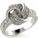 Love Knot Clear CZ Fashion Promise , Cocktail Ring, Rhodium Plated, Size 5, 10