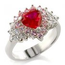 Sterling Silver  Engagement  Wedding  Ring W/ Ruby Heart CZ,  Size   9,10