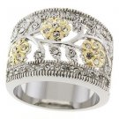 Two Tone  Austrian Clear Crystal Floral Motif Band Ring, Size  5 ,6,7,8,9 ,10