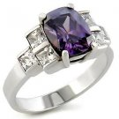2.5 Carat Sterling Silver Amethyst Radiant Cut CZ Cocktail Ring, Size 5 ,9,10
