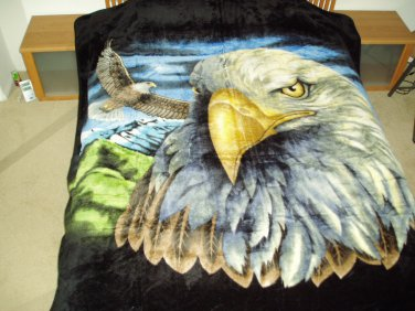 Bald Eagle, Mink Style Queen Size Soft & Warm Blanket_Q948E