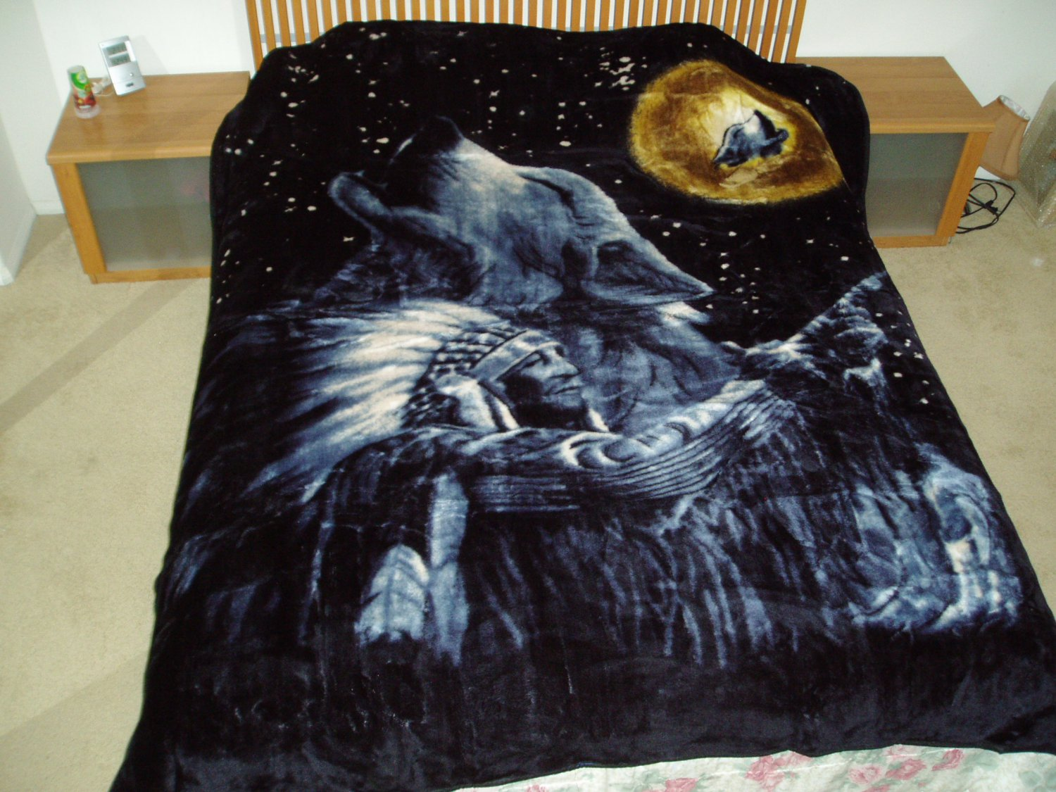 Wolf And Incian Chief, mink style soft and warm queen size blanket,  Q967E