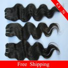 Virgin Indian Hair Weft Remy Human hair Extension body Wave 18Inch 2pks,off Black and dark Brown