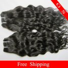 Brazilian Human Hair Extensions Virgin Remy Hair Weft water Wave 14Inch 2packs 8oz Black and Brown