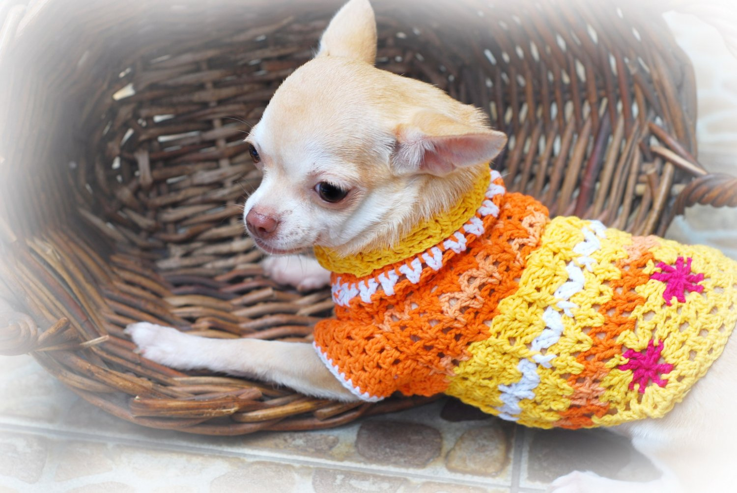 Handmade Hand Crochet Dog Clothes Puppy Sweater Myknitt D811 XXS