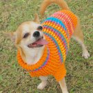 Warm Dog Sweater, Puppy Clothes, Hand Crochet Sweater D816 XS - Free shipping