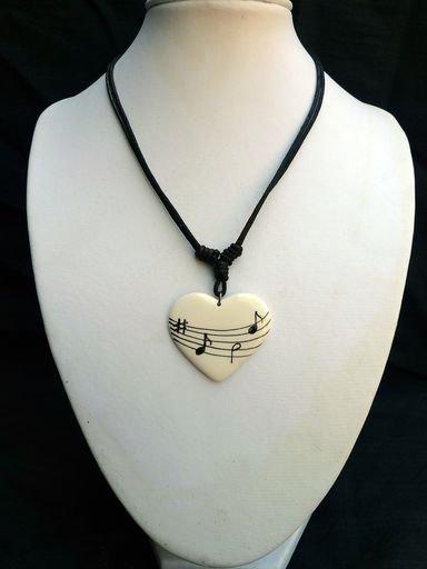 Music notes ceramic pendant - A