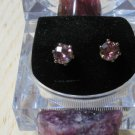 Checkerboard Faceted Round Rubellite Tourmaline Earrings