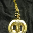 Love Plug Gold tone NECKLACE signed TT 18&quot; chain with pendant
