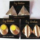 3 Pairs Liz Jordan Pierced Earrings - Gold, Silver and Yellow - New old stock