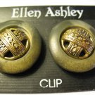 2 Prs Clip Earrings - Orange & faux Jade & gold - New Old Stock Ashley/ Birch H