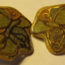Butterfly Clip on Earrings - BIG -Gold Tone Handmade and Green Granite - ClipOns