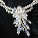 Faux Pearl Crystal Necklace - Artisan - Bridal