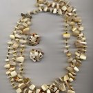 Vintage MOP Mother of Pearl 3 Strand Shell Necklace Earrings Japan  Statement