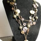 "Wood Nut  Buttons SWAG BIB Necklace 4 strands Brass beads 16"" expands to19"""