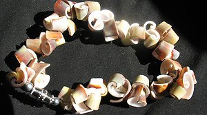 Curly  SEASHELL BRACELET with safety clasp - Greens, Whites, Browns - Size: Smal