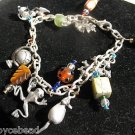 Silver PewterTone Charm Bracelet  Animal Theme  Frog Fish Mouse Globe