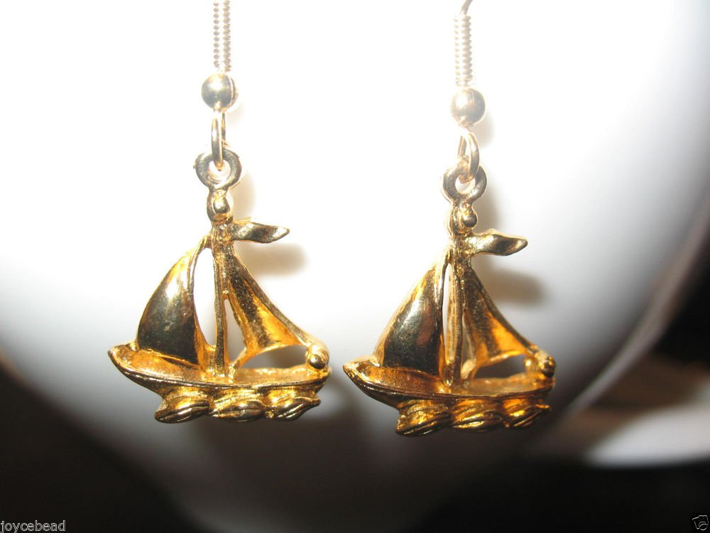 Sailboat Yacht Earrings - Gold-Plated Sailboat - 3D Nautical