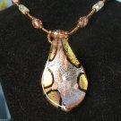 Gold Leaf Lampwork Statement Murano Glass Bead Pendant  Necklace Jungle Colors