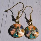Vintage Cloisonne Earrings Sand Dollar Shell Goldtone Metal Enamel Pierced  hook