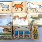 Melissa & Doug  Horse Barn Farm Stable Stamp Set 10 Stamps Horses Trophy Mounted