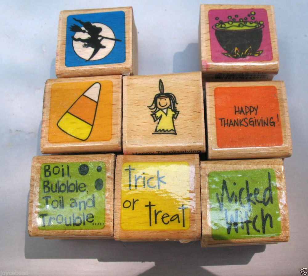 8 Small Stamps Halloween & Thankgiving WitchesTrick or Treat Mounted